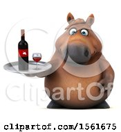 Clipart Of A 3d Chubby Brown Horse Holding Wine On A White Background Royalty Free Illustration by Julos