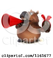 Clipart Of A 3d Chubby Brown Horse Holding A Chocolate Egg On A White Background Royalty Free Illustration by Julos