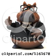Clipart Of A 3d Chubby Brown Business Horse Holding Up A Middle Finger On A White Background Royalty Free Illustration by Julos