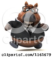 Clipart Of A 3d Chubby Brown Business Horse Running On A White Background Royalty Free Illustration by Julos