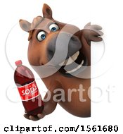 Clipart Of A 3d Chubby Brown Horse Holding A Soda On A White Background Royalty Free Illustration by Julos