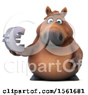 Clipart Of A 3d Chubby Brown Horse Holding A Euro On A White Background Royalty Free Illustration by Julos
