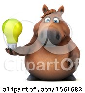 Clipart Of A 3d Chubby Brown Horse Holding A Light Bulb On A White Background Royalty Free Illustration by Julos