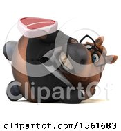Clipart Of A 3d Chubby Brown Business Horse Holding A Steak On A White Background Royalty Free Illustration by Julos