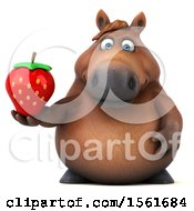 Clipart Of A 3d Chubby Brown Horse Holding A Strawberry On A White Background Royalty Free Illustration by Julos