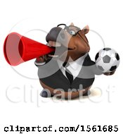 Clipart Of A 3d Chubby Brown Business Horse Holding A Soccer Ball On A White Background Royalty Free Illustration by Julos