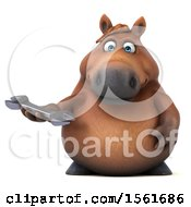 Clipart Of A 3d Chubby Brown Horse Holding A Wrench On A White Background Royalty Free Illustration by Julos