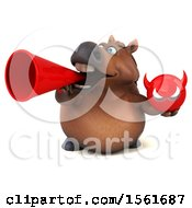 Clipart Of A 3d Chubby Brown Horse Holding A Devil On A White Background Royalty Free Illustration by Julos