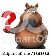 Clipart Of A 3d Chubby Brown Horse Holding A Question Mark On A White Background Royalty Free Illustration by Julos