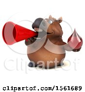 Clipart Of A 3d Chubby Brown Horse Holding A Blood Drop On A White Background Royalty Free Illustration by Julos