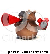 Clipart Of A 3d Chubby Brown Horse Holding An Alarm Clock On A White Background Royalty Free Illustration by Julos