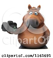 Clipart Of A 3d Chubby Brown Horse Holding A Camera On A White Background Royalty Free Illustration by Julos