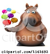 3d Chubby Brown Horse Holding Messages On A White Background