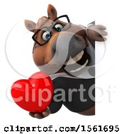 Clipart Of A 3d Chubby Brown Business Horse Holding A Heart On A White Background Royalty Free Illustration by Julos