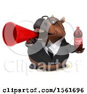 Clipart Of A 3d Chubby Brown Business Horse Holding A Soda On A White Background Royalty Free Illustration by Julos