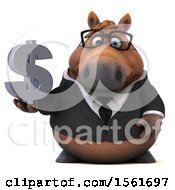 Clipart Of A 3d Chubby Brown Business Horse Holding A Dollar Sign On A White Background Royalty Free Illustration by Julos