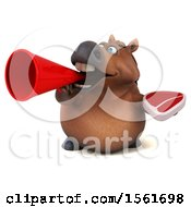 Clipart Of A 3d Chubby Brown Horse Holding A Steak On A White Background Royalty Free Illustration by Julos