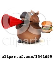 Clipart Of A 3d Chubby Brown Horse Holding A Burger On A White Background Royalty Free Illustration by Julos