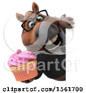 Clipart Of A 3d Chubby Brown Business Horse Holding A Cupcake On A White Background Royalty Free Illustration by Julos