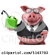 3d Chubby Business Pig Holding A Gas Can On A White Background