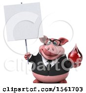 Clipart Of A 3d Chubby Business Pig Holding A Blood Drop On A White Background Royalty Free Illustration