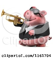 3d Chubby Business Pig Holding A Trumpet On A White Background