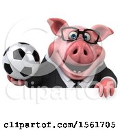 3d Chubby Business Pig Holding A Soccer Ball On A White Background