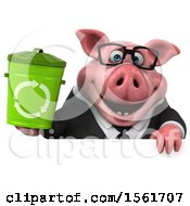 3d Chubby Business Pig Holding A Recycle Bin On A White Background