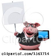 3d Chubby Business Pig Holding A Tablet On A White Background
