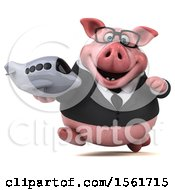 3d Chubby Business Pig Holding A Plane On A White Background