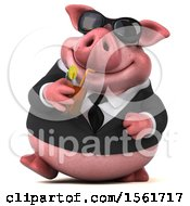 3d Chubby Business Pig Holding A Beverage On A White Background