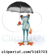 3d Blue Frog Holding An Umbrella On A White Background