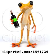 3d Yellow Frog Holding Wine On A White Background