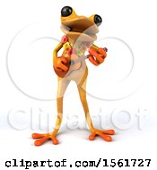 3d Yellow Hawaiian Frog Playing A Ukulele On A White Background