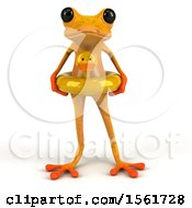 3d Yellow Frog Wearing An Inner Tube On A White Background