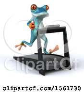 3d Blue Frog Running On A Treadmill On A White Background