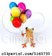 3d Yellow Frog Holding Balloons On A White Background