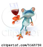 3d Blue Frog Holding Up A Glass Of Wine On A White Background