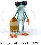3d Blue Frog Traveler On A White Background