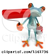 3d Blue Frog Holding Up A Paint Roller On A White Background