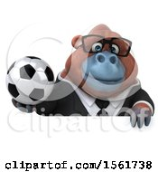 Clipart Of A 3d Business Orangutan Monkey Holding A Soccer Ball On A White Background Royalty Free Illustration by Julos