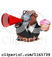 Clipart Of A 3d Business Orangutan Monkey Holding A Cupcake On A White Background Royalty Free Illustration by Julos