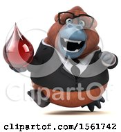 Clipart Of A 3d Business Orangutan Monkey Holding A Blood Drop On A White Background Royalty Free Illustration by Julos