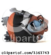 Clipart Of A 3d Business Orangutan Monkey Holding A Wrench On A White Background Royalty Free Illustration by Julos