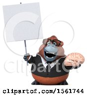 Clipart Of A 3d Business Orangutan Monkey Holding A Brain On A White Background Royalty Free Illustration by Julos