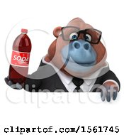 Clipart Of A 3d Business Orangutan Monkey Holding A Soda On A White Background Royalty Free Illustration by Julos