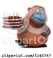 Clipart Of A 3d Orangutan Holding A Birthday Cake On A White Background Royalty Free Vector Illustration by Julos
