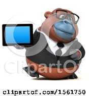 Clipart Of A 3d Business Orangutan Monkey Holding A Tablet On A White Background Royalty Free Illustration by Julos