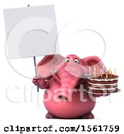3d Pink Elephant Holding A Birthday Cake On A White Background