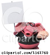 3d Pink Business Elephant Holding A Brain On A White Background
